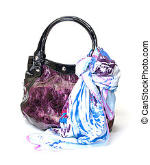 Vibrant Leather Ladies Handbag with Handkerchief on white...