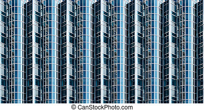 Abstract glass facade - abstract blue glass facade of office...
