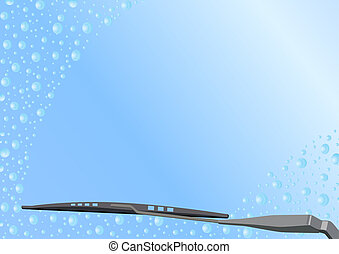 Automotive Wiper - Automotive windshield wiper on the glass...