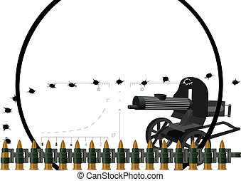 Machine gun and machine-gun belt - Machine gun on the...