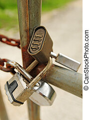 Keep out - Four padlocks to give a message to keep out