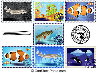 Postage stamps. Fish. - A set of postage stamps. The...