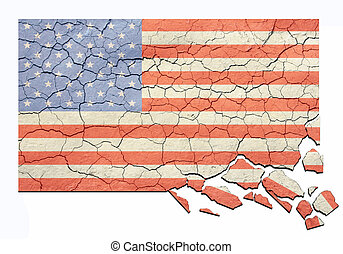 Aged Cracked and Crumbling US Flag
