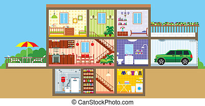 House in a cut - Vector illustration, color full