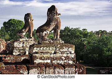 Stone Guardian at Pre Rup - Stone Lion Guardians against...