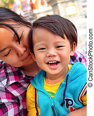 Thai children aged 2 years with mother