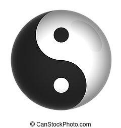 yin yang - Yin and Yang symbol on a glossy ball