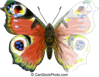 Butterfly Inachis Io. Unfinished Watercolor drawing imitation.