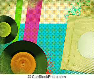 Retro music poster.Pop art background with music records on...
