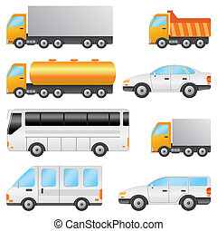 Set of vehicles - Set of various vehicles including bus,...