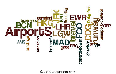 Airports Word Clouds - Airports word cloud with white...