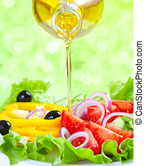 Healthy lifestyle Fresh salad with oil Food still life