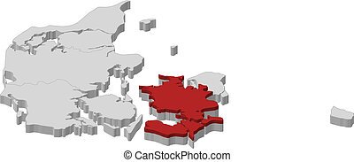 Map of Danmark, Zealand highlighted - Political map of...