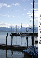 sailship in the harbour on the bodensee