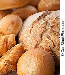 tabla, surtido, madera, cocido al horno,  bread