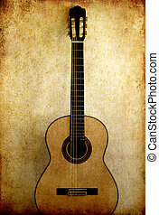 Classical guitar in grunge image background