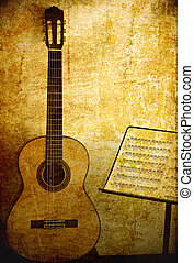 Guitar classic with stand note in grunge background