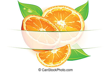Oranges with leaves - Orange fruits with leaves on white...