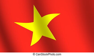 Waving flag of Vietnam