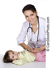 doctor with a child on a light background