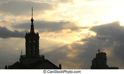 Cathedral at dawn silhouette