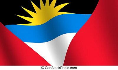 Waving flag Antigua and Barbuda