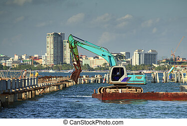 Vehicle work on the sea for construction work
