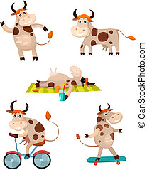 cow set - vector illustration of a cute cow set