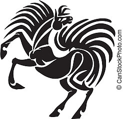 Horse in tribal style - vector illustration.