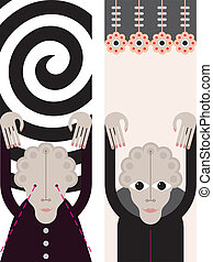 Hypnosis - vector illustration - Female Hypnotist - vector...