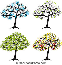 season tree for winter, spring, summer, autumn