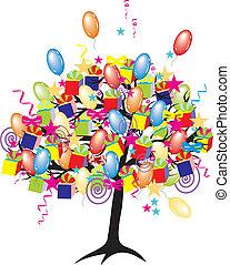caricatura, Partido, árvore, bexigas, giftes, caixas,...