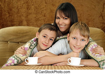 A beautiful Caucasian mother with two adorable brothers on a...