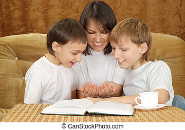 A beautiful Caucasian mum with two adorable brothers on a...