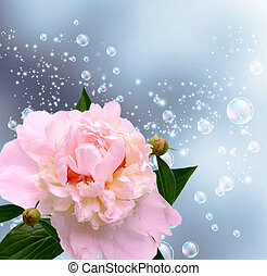 Peony and bubbles - Card with peony, bubbles and flying...