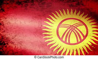 Kyrgyzstan Flag Waving, grunge look