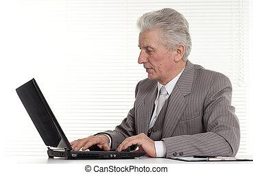 computador portatil, hombre, anciano, Sentado