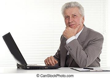 hombre, computadora, Maduro, Sentado