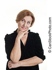an elderly lady in a dress standing on white background