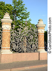 Decorative cast-iron fence Mikhailovsky Garden St Petersburg...