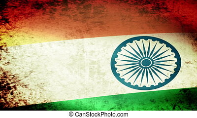 India Flag Waving, grunge look