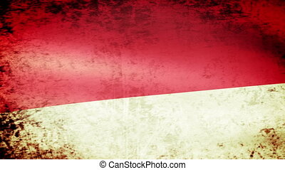 Indonesia Flag Waving, grunge look