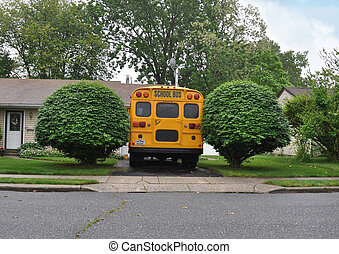 School Bus Parked in driveway