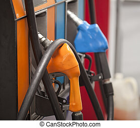 refilling the car with a gas pump