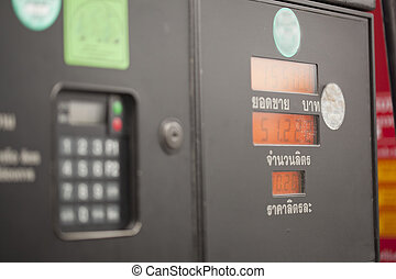 display  refilling the car with a gas pump