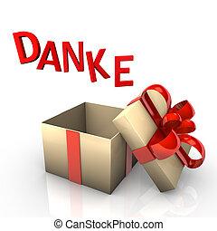 Danke Geschenk - Ein offenes Geschenk mit dem Schriftzug...