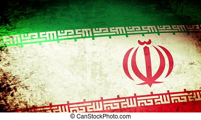 Iran Flag Waving, grunge look