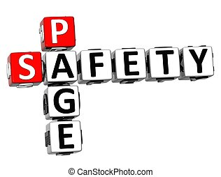 3D Safety Page Crossword on white background