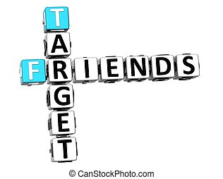 3D Target Friends Crossword on white background