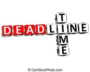 3D Deadline Time Crossword on white background